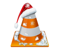 Cone with Santa Clause hat and snow on it