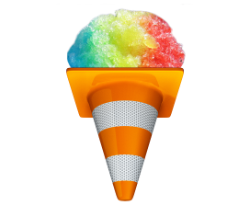 Upside-down cone fille with rainbow cotton candy