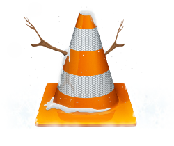 VLC Cone with snow and branches as arms