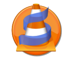 Orange cone with blue strip around it on a orange round background