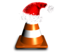 Dark orange cone with christmas hat and shadow below it