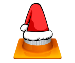 Cone with Santa Clause hat