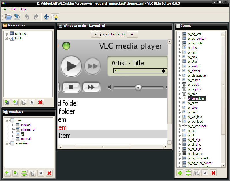 Screenshot of VLC Skin Editor